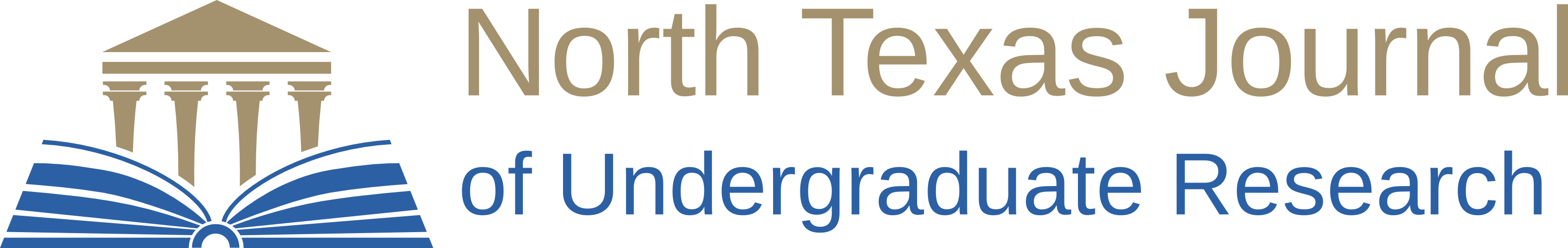 North Texas Journal of Undergradaute Research logo, featuring Greek-style building atop the pages of an open book.